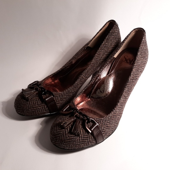 Sofft Shoes - Sofft Womens Brown Fabric/ Leather Round Toe Heel